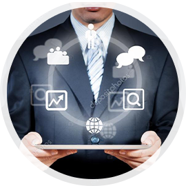 Man holding tablet with floating icons